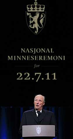 Hans Majestet Kong Harald holdt tale under minneseremonien etter   terrorhandlingene 22. juli. (Foto: Cornelius Poppe)