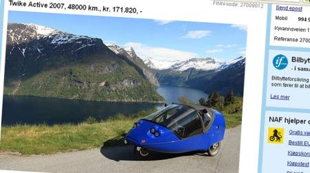 Det er mange ulike varianter i elbilmarkedet. Dette er Twike Active - elbilen som kombinerer elmotor og pedaldrift, for å gi deg ekstra rekkevidde. Plass til to personer - og motoren har 7 hk.