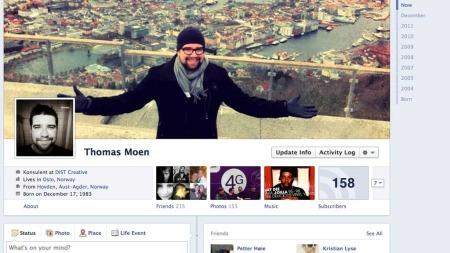 Thomas Moen er kommunikasjonsrådgiver i DIST, og mener den nye   tidslinjen gir oss muligheter til å styre vår egen profil visuellt. Noe   som gjør den mer personlig. (Foto: Facebook)
