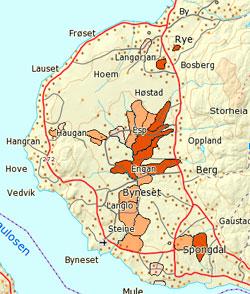Flere områder på Byneset i Trondheim er utsatt for skredfare på grunn av kvikkleire. Mørk brun er høy faregrad, lysest lav faregrad. (Foto: skrednett.no)