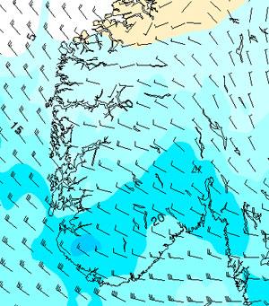 Her vil det komme mest nedbør døgnet fra tirsdag morgen til   onsdag morgen. (Foto: StormGeo)