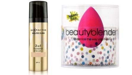 EKSTRAPREMIE: Ageless Elixir Foundation fra Max Factor og Happy Day Beauty Blender fra Parfymelle.