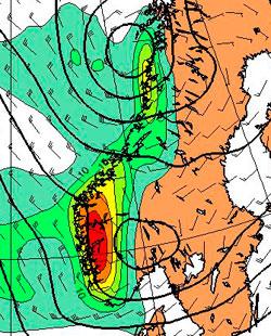 Her vil det regne mest torsdag, rødt er 30 mm på 24 timer, lysegrønt 5 mm. (Foto: StormGeo)