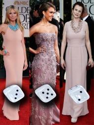 TOPP OG BUNN: Fra mislykket minimalisme til dus eleganse. Heidi Klum, Jessica Alba og Emily Watson gikk alle for milde toner i nyanser av nude og lavendel.