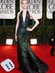 KVELDENS FLOTTESTE? Evan Rachel Wood hadde en av kveldens flotteste kjoler, og så ut som en vakker påfugl i denne kreasjonen fra Gucci.