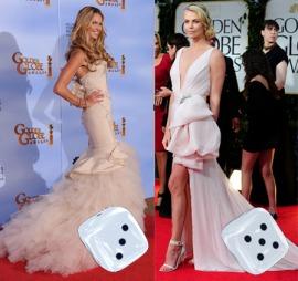 SLEP OG HAVFRUE: Elle McPherson og Charlize Theron tok sjanser med sine nude-kjoler, sistnevntes fra Dior Haute Couture.