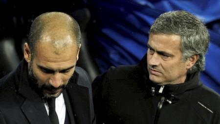 DE AKTUELLE: Josep Guardiola og José Mourinho skal være de to eneste managerne som Sir Alex Ferguson anser som verdt å vurdere som hans etterfølger. (Foto: Andres Kudacki/Ap)