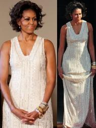 VAKKER I HVITT: Michelle Obama i en elfenbenhvit kjole pyntet   med paljetter, stener og perler signert designer Naeem Khan.