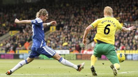 Det ble enda en målløs kamp for Fernando Torres mot Norwich. Her i duell med Zak Whitbread. (Foto: Stephen Pond/Pa Photos)