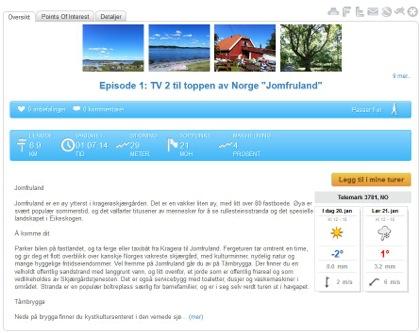 På www.lommekjent.no finner du detaljer om turene, hvor lange de er,  høyeste punkt på turen og om turen er gåtur, langrenn eller andre type aktiviteter