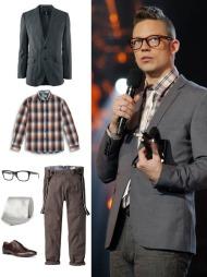 STILFULL ARTIST: Grå blazer (kr 499, H&M), rutete skjorte (kr 199, Kappahl), briller (kr 1800, Ray Ban), hvitt silkeslips (ca kr 630, Richard James/Mrporter.com), brune sko i skinn (kr 799, Zara), bukse med seler (kr 799, MQ)
