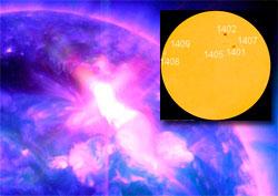 Eksplosjonen på solen mandag morgen skjedde i solflekk nummer 1402. (Foto: NASA)