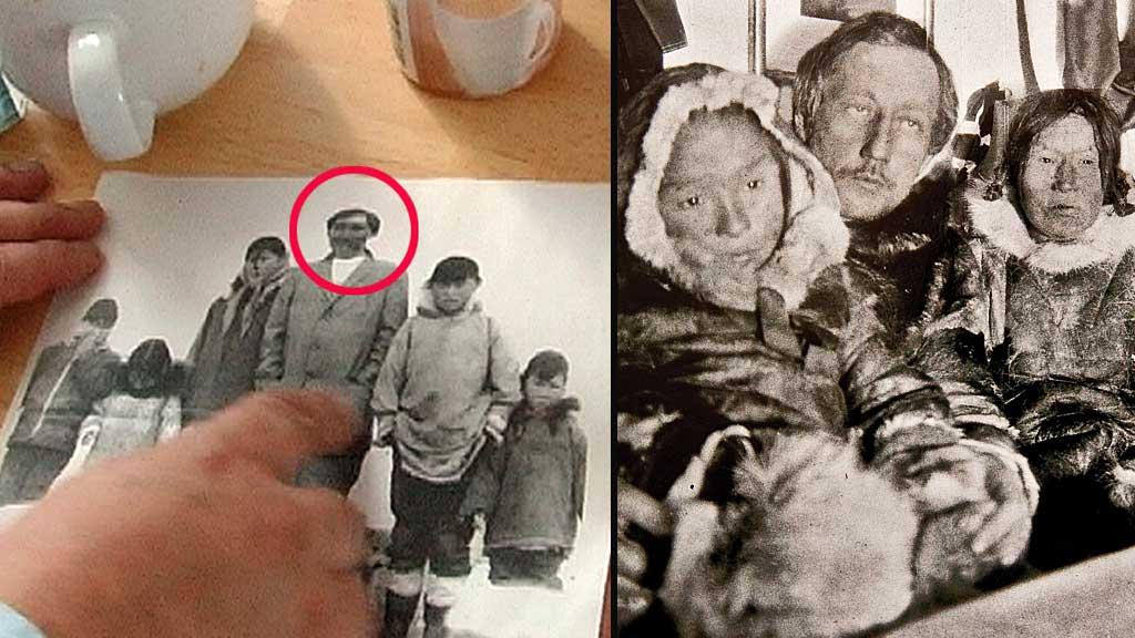 ETTERKOMMER AV POLARHELTEN? Paul Iquallaq peker på bildet av hans far Luke (markert med rød ring), som fortalte at han var Roald Amundsens barn. Til høyre Roald Amundsen da han fikk besøk av en inuittfamilie om bord på Gjøa i Gjøahavnen. (Foto: Finn-Ove Hågensen/Fram-museet)