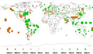Avvik fra normal nedbør i 2011.  (Foto: NOAA)