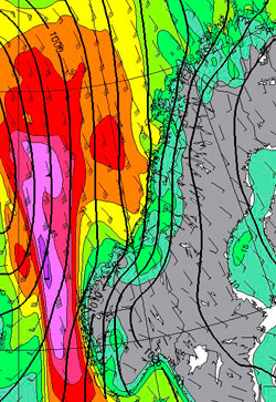 Her er det kraftigst vind natt til torsdag. (Foto: StormGeo)