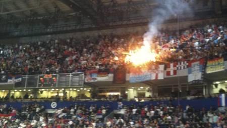 Fyrverkeri i Beogradska Arena (Foto: Sindre Olsen/)