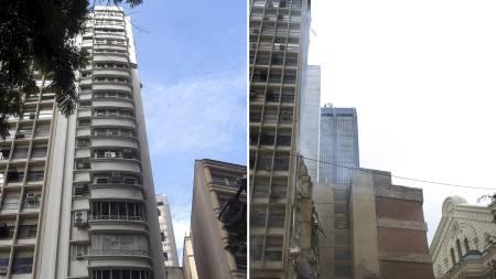 FØR OG ETTER: Bildet til venstre viser blokka før den raste sammen. Til høyre er det bare et tomrom igjen. (Foto: -/Afp)