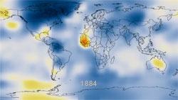 Den globale temperaturen i 1884. (Foto: NASAs Goddard Institute for Space Studies)