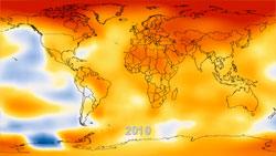 Den globale temperaturen i 2010, det varmeste året som er registrert. (Foto: NASAs Goddard Institute for Space Studies)