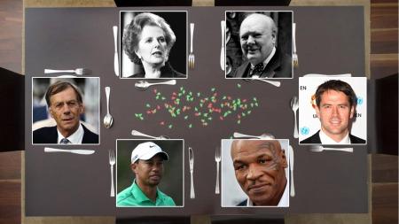 Michael Owens drømmemiddagsgjester. Fra venstre, med klokken: Henry Cecil, Margaret Thatcher, Winston Churchill, Owen selv, Mike Tyson, Tiger Woods.