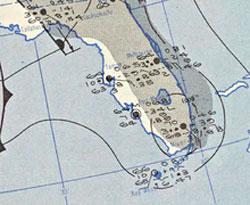 Værkartet fra 1952  viser Groudnhog Day stormen over Florida. (Foto: Wikipedia Commons)