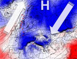 Høytrykket fungerer som en enorm vifte. Kald luft sendes sørvestover øst for det, og varm luft trekkes nordover vest for høytrykket. (Foto: StormGeo)