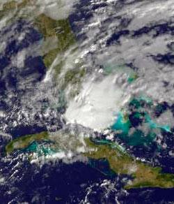 Den 6. februar lå uværet over Florida. (Foto: NASA GOES)
