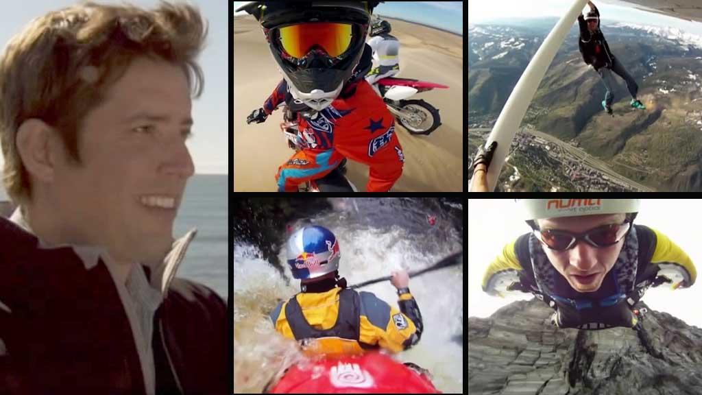 SURFER OG FORRETNINGSMANN: Nick Woodman (36) fra California i USA gjorde hobbyen om til jobb. Kameraene han utvikler har blitt en kjempesukksess og brukes av spenningssøkere verden over.  (Foto: CBS/ Montasje)