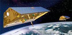 De to GRACE satellittene. (Foto: NASA)