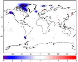 Endring i isdekke per år i perioden 2003-2010, målt med GRACE.   Grønland og Antarktis er ikke tatt med. (Foto: NASA/JPL-Caltech/University   of Colorado)