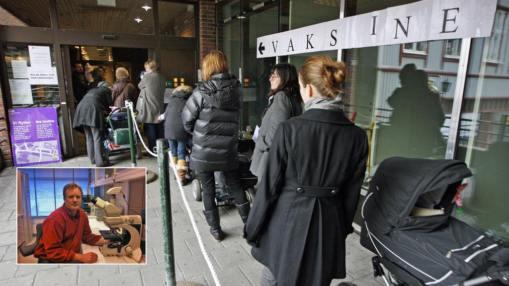 MASSEVAKSINASJON: 2,2 millioner nordmenn fikk vaksine mot svineinfluensa høsten 2009. Professor Elling Ulvestad (innfelt) mener massevaksinasjonen var totalt unødvendig. (Foto: Scanpix/TV 2)