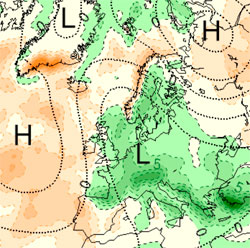 Kartet viser hvor det vil falle mest nedbør de neste fire ukene. (Foto: StormGeo)