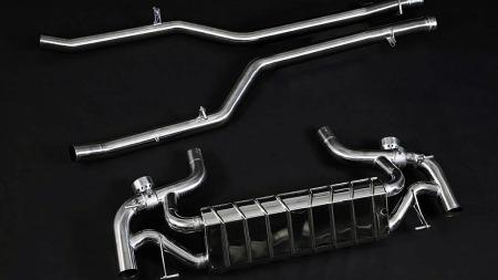 Ikke bare rør: En god del av forklaringen på effektøkningen i bilen ligger trolig i det modifiserte, aktive eksosanlegget i rustfritt stål som tuningfirmaet har montert på SLSen.