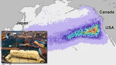 Kartet viser hvor vrakrestene er to år etter tsunamien (Foto: Ap)