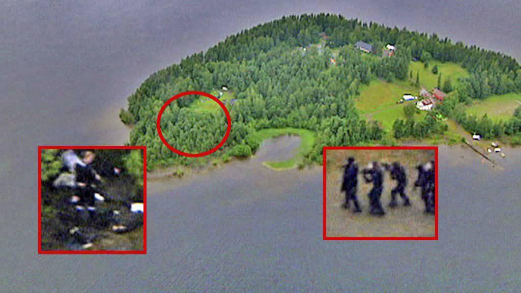 Utøya og pågripelsen av Anders Behring Breivik. (Foto: TV 2 montasje: TV 2)