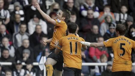 Doyle jubler etter scoring mot Newcastle (Foto: GRAHAM STUART/Afp)