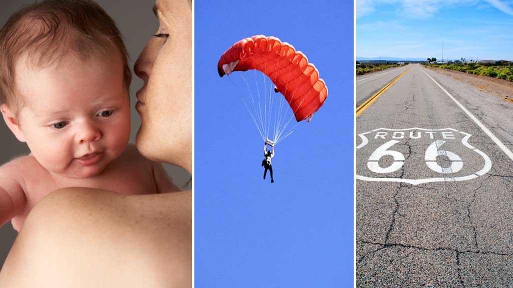 Få barn. Hoppe i fallskjerm. Krysse USA i bil. Det er tre av punktene på den eviglange listen over hva vi skal gjøre før vi dør.  (Foto: Illustrasjonsfoto)