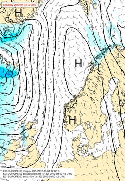 HØYTRYKK: Lørdag ligger høytrykket solid og godt over landet. (Foto: StormGeo)
