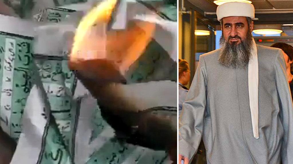 KORANBRENNING: Videoer av koranbrenning ble vist i Oslo tingrett torsdag. (Foto: YouTube/Eivind Fondenes/TV 2)