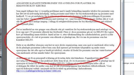 GREIT Å RYDDE: Mailkorrespondansen TV 2 har fått tilgang til viser hvordan OUS rydder plass til pasienter som har klaget.  (Foto: TV 2)