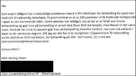DOKUMENTASJON: Mailkorrespondanse som viser problemene OUS har med å overholde tidsfrister.  (Foto: TV 2 )