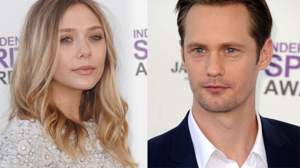 FLØRT?: Elizabeth Olsen og Alexander Skarsgård skal ha flørtet  hele natten under etterfesten til Oscar-utdelingen.