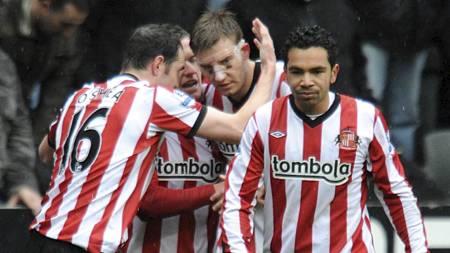 Nicklas Bendtner har sendt Sunderland i føringen (Foto: Owen Humphreys/Pa Photos)
