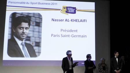 VIL KJØPE SUAREZ: Nasser Al-Khelaifi, president i PSG, har flere stjernenavn i kikkerten. (Foto: ALEXANDER KLEIN/Afp)