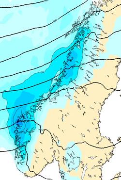 Her kommer det mest nedbør fredag. (Foto: StormGeo)