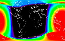 De røde områdene fikk mest røntgenstråling etter eksplosjonen. (Foto: NOAA)