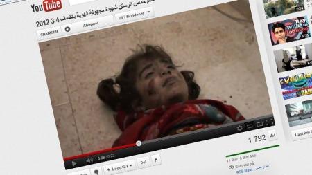 BRUKER NETTET SOM KANAL: Syriske opposisjonelle bruker nettet for å dokumentere regimets harde linje overfor demonstrantene. (Foto: Faksimile/Youtube)
