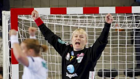 Cecilie Leganger sto nok en strålende kamp i Larvik-målet mot Györ. (Foto: Varfjell, Fredrik/Scanpix)