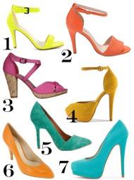 FARGEEKSPLOSJON: 1. Sandal i gul lakk (kr 349, Nelly Shoes/Nelly.com) 2. Orange sandal med hæl (kr 599, Bianco) 3. Sandal i hot pink med korkhæl (kr 349, Din Sko)  4. Pumps med platå i brent sennep (kr 1099, Aldo) 5. Pumps med spiss tå i mintgrønt (kr 699, Bianco) 6. Orange pumps i glatt skinn fra Kmb (kr 898, Lille Vinkel Sko) 7. Turkis pumps (kr 999, Aldo).