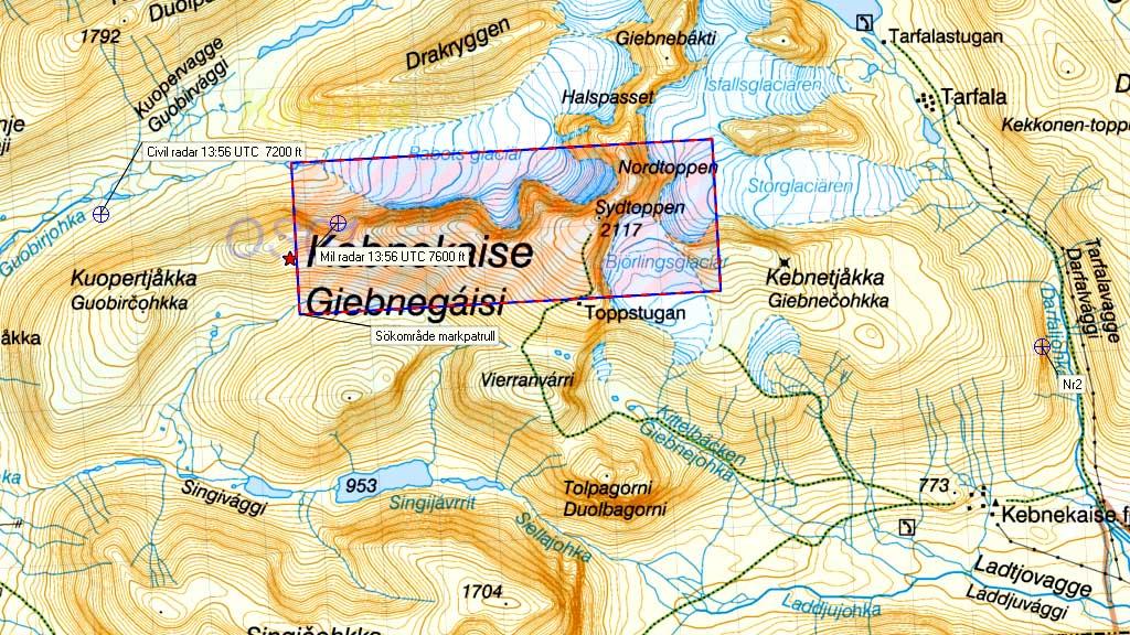 Letekart Kebnekaise (Foto: Sjöfartsverket)